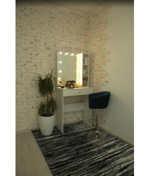 Туалетный столик 80х80 с безрамным зеркалом 80х60 и стеллажем