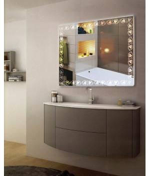Зеркало в ванную комнату с подсветкой светодиодной лентой Наоми
